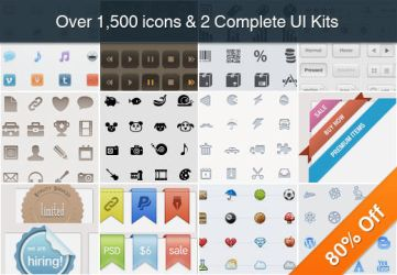 Collection of Over 1,500 Icons and 2 UI by okidoci