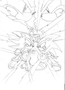 Sonic vs Shadow better view by Zega