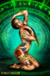 Arcane tattooed girl by Stanley-ontheroad