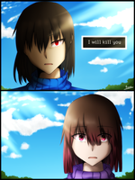 Glitchtale Frisk vs. Betty by FransArtist
