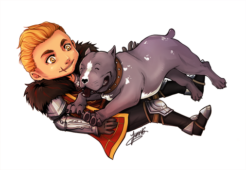 Cullen and Mabari by Junie-Junette