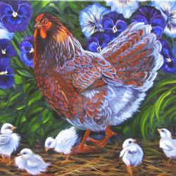 Blue Lace Wyandotte Hen with Chicks  by HouseofChabrier