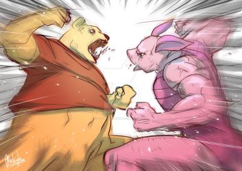 Winnie the Pooh VS Piglet by Afterlaughs