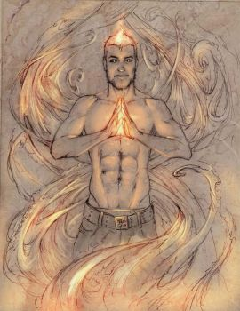 Vincent and the fire II by elGuaricho