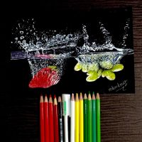 My still life drawing with colored pencils by korkmazart