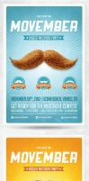 Movember Retro Party Flyer Template by saltshaker911