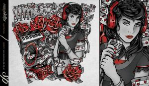 Music Girl Lower Arm Tattoo Sleeve by Sam-Phillips-NZ