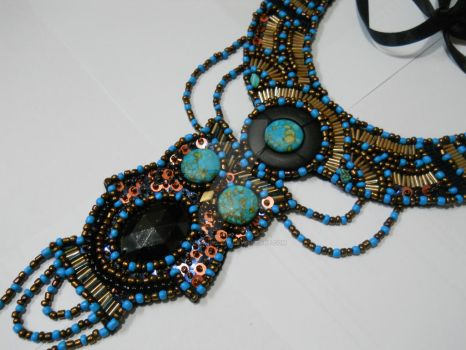 close up... owl beaded body adornment necklace by AniDandelion