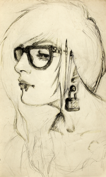 Moleskine Self-portrait in Ink's and pencil by OctoGear