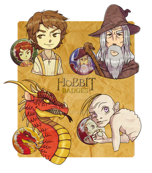 HOBBIT BUTTON BADGES -for sale- by shazy