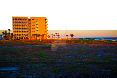 Vacant Lot Next To Beach and Resort At Sunrise by BlakeHenryRobson