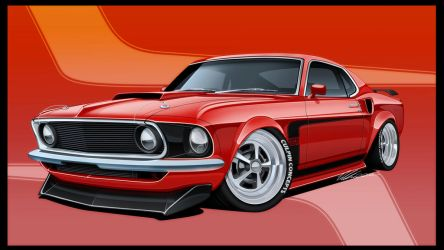 1969 Ford Mustang Boss by dazza-mate