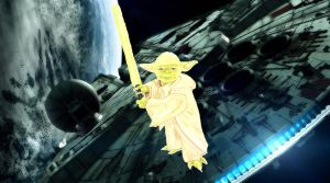 Yoda On The Millennium Falcon by lolavincent