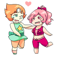 Pearl And Pink Topaz pixel commission by NiniTheWeenie