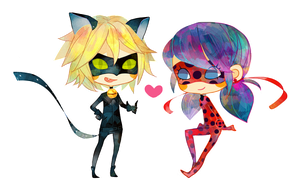 Miraculous Ladybug and Chat Noir by megounette