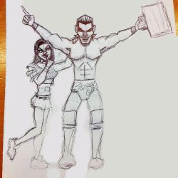 Dolph Ziggler and AJ Doodle by gordonholmes