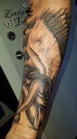 Angel Tattoo on arm by Zindy