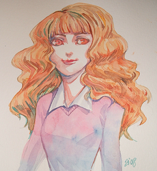 HP: Watercolor Hermione by andreanna