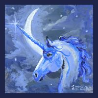 Lunicorn: Unicorn of the Moon Horse Blue Lunar by StephanieSmall