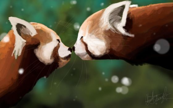 Panda Kisses by kremmiz