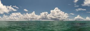 Sea view of the clouds and the sea. by fly10