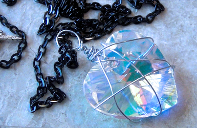 Beautiful Wire Wrapped Large Crystal Necklace by zombiedezi