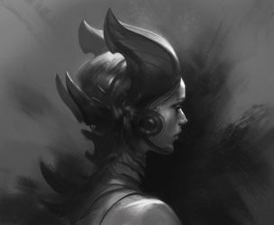 Demon Girl portrait by Hamsterfly