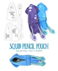 Squid Pencil Pouch Sewing Pattern by SewDesuNe