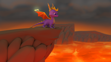 Spyro Looking Over a Cliff by Morganicism