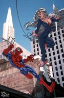 Spiderman and Black Cat color by CarlosGomezArtist
