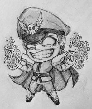 Chibi M. Bison (sketch) by SparklyChainsaw