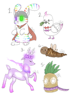 Random creature adopts batch 1 (CLOSED by Gameaddict1234