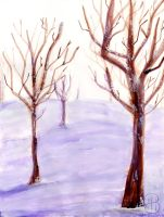 [ Watercolor ] Snowy Naked Trees by Dreamsverse