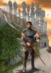 Warrior with polearm, background Iriaebor from FR by JohnLittleB