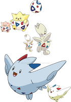 175, 176 and 468 - Togepi Evolutionary Family by Tails19950