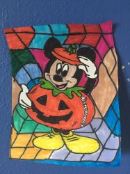 Mickey Mouse Pumpkin Art Colorful Design Drawing  by NWeezyBlueStars23