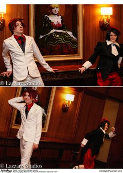 Umineko Cosplay: Battler + Kanon: Dat Moment When by Maxieyi