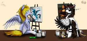 Painting The Mona Lisa (collab w Lorett) by Valorianna