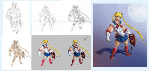 Sailor Moon redesign process by Binrod
