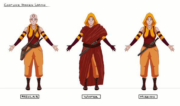 Lhamo Costume Design - Final Turnaround Animated by acrazymind