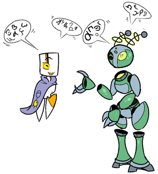 Kronos and Sectoid Robot in Old greek language (C) by CPtheLunarGoat