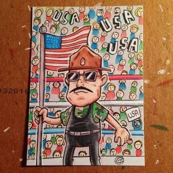 Sargent Slaughter sketch card by johnnyism