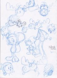 Rocky and Bullwinkle sketchies by KicsterAsh