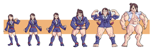 Akko Muscle Growth commission by NeroScottKennedy