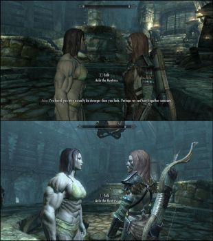 Skyrim - Meeting with Aela The Huntress by J2001