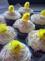 Baby chick cupcakes by Dark-Queen-of-Death