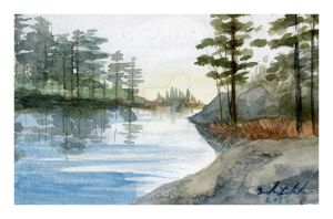 Mini watercolor: The Dawn by SALTWatercolors