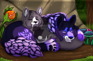 Cuddling wolves (commission) by Cynderthedragon5768