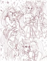 Sketch Page Antoinette and Aphrodite by nickyflamingo