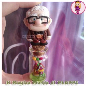Carl UP and House in glass bottle Fimo by Ploppi by MagicoMondoDiPLOPPI